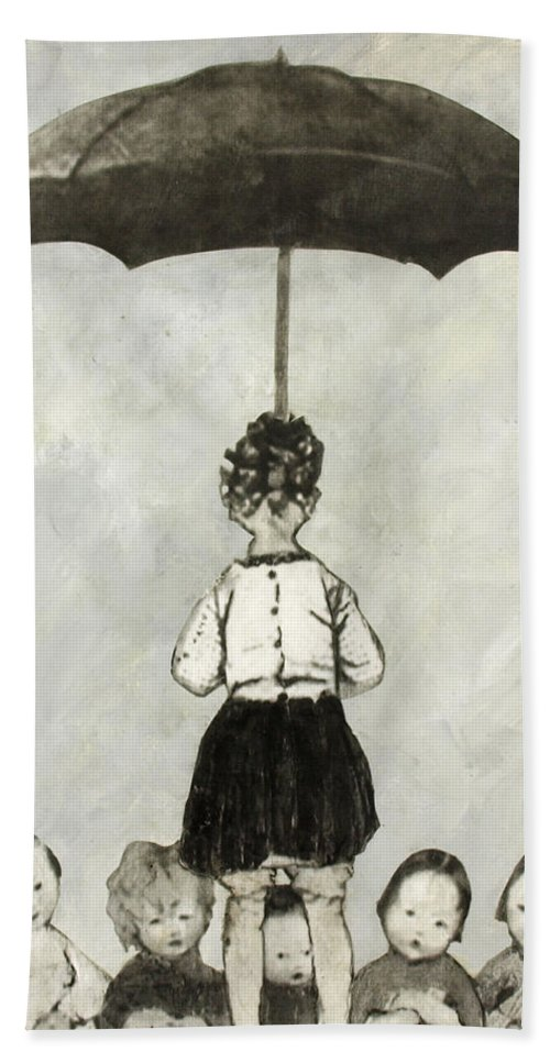 Umbrella Hand Towel featuring the mixed media Umbrella Children by Judy Tolley