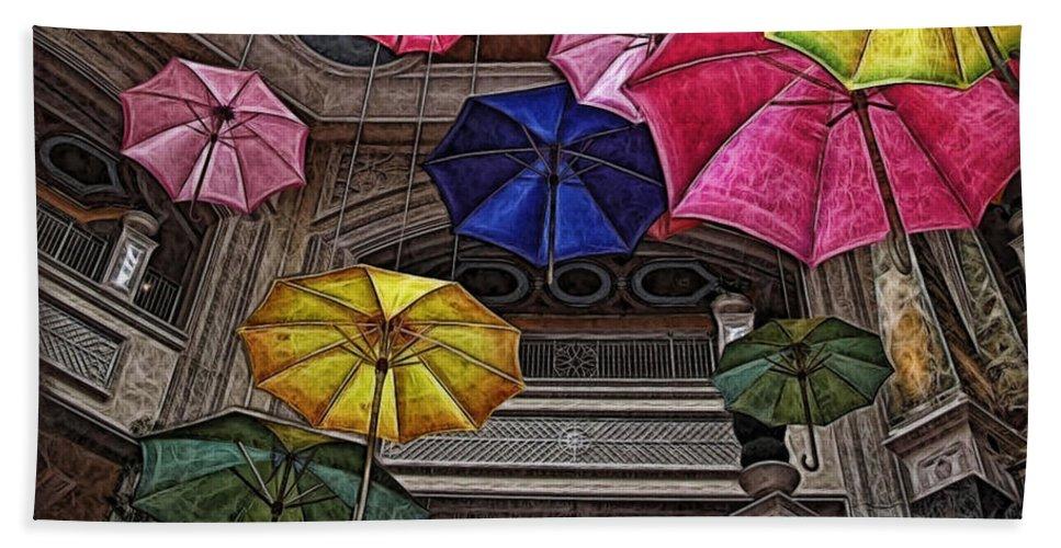 Umbrella Bath Sheet featuring the digital art Umbrella Fun by Joan Minchak