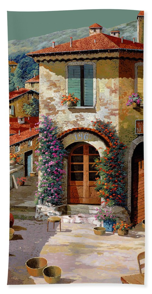Light Green Sky Hand Towel featuring the painting Un Cielo Verdolino by Guido Borelli