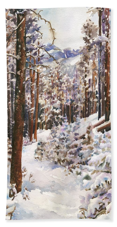 Snow Scene Painting Bath Towel featuring the painting Unbroken Snow by Anne Gifford
