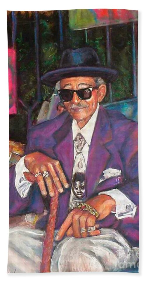 New Orleans Musician Bath Sheet featuring the painting Uncle With Time On His Hands by Beverly Boulet