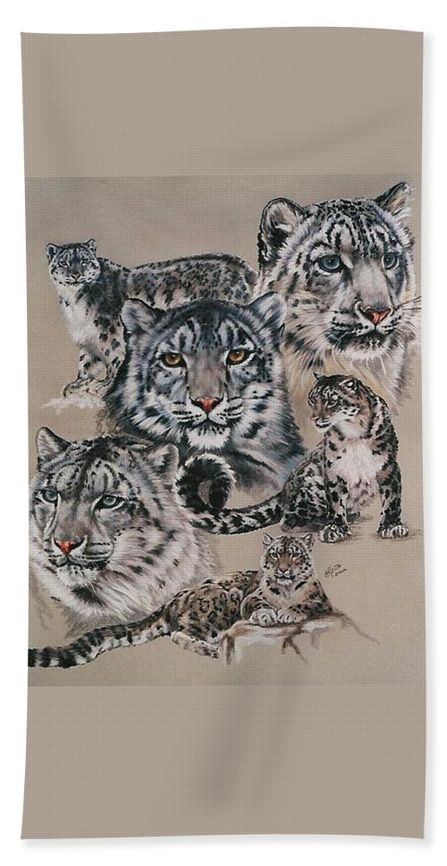 Snow Leopard Hand Towel featuring the drawing Uncommon by Barbara Keith