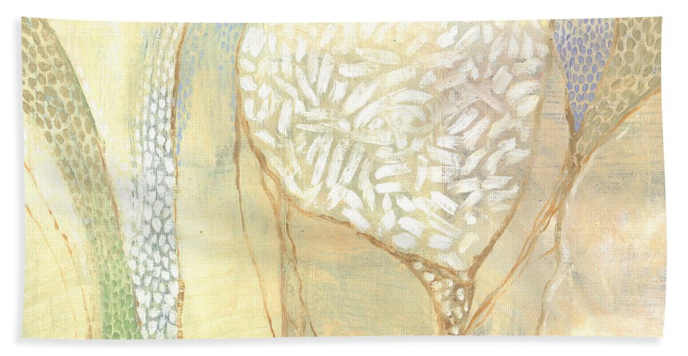 Abstract Hand Towel featuring the painting Undaunted Courage by Randy Wollenmann