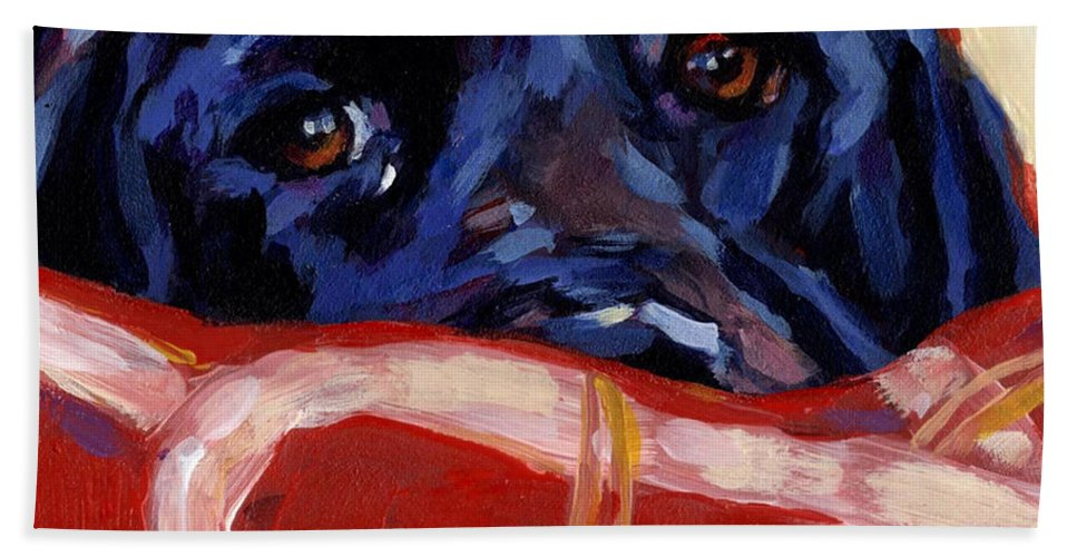 Black Labrador Retriever Bath Sheet featuring the painting Under Cover by Molly Poole