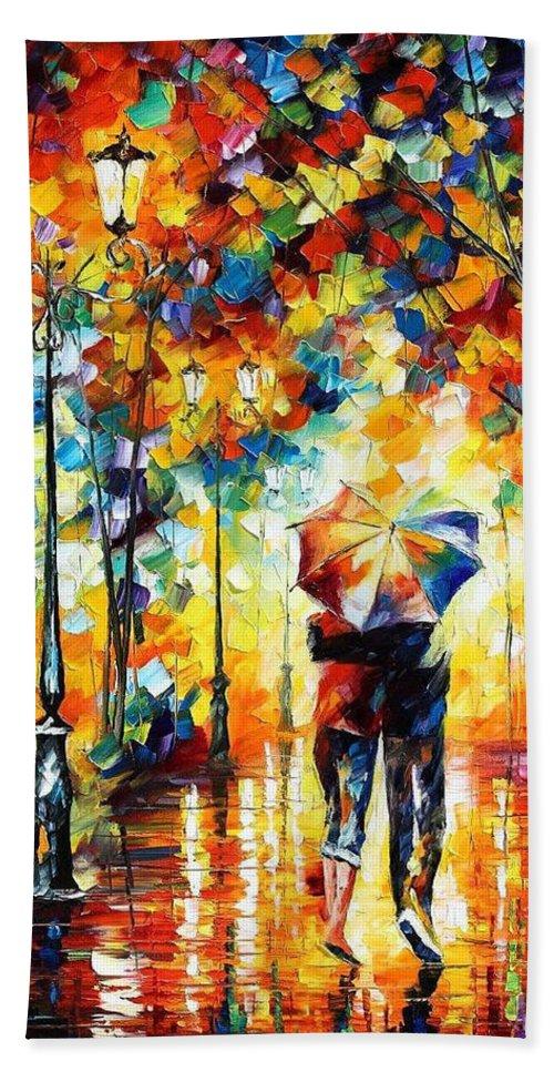 Leonid Afremov Bath Towel featuring the painting Under One Umbrella - PALETTE KNIFE Figures Oil Painting On Canvas By Leonid Afremov by Leonid Afremov