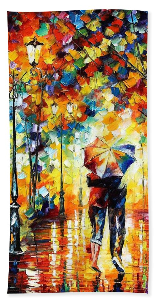 Leonid Afremov Bath Sheet featuring the painting Under One Umbrella - Palette Knife Figures Oil Painting On Canvas By Leonid Afremov by Leonid Afremov