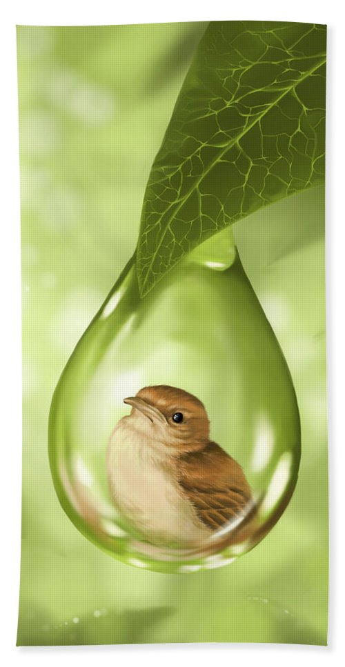 Bird Bath Sheet featuring the painting Under Protection by Veronica Minozzi