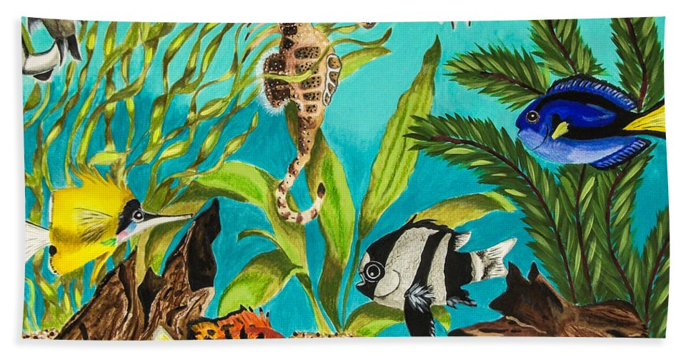 Water. Fish. Under Water. Foliage. Sea Horse. Nature. Wildlife. Fine Art. Design. Aquarium. Bath Sheet featuring the mixed media Under Sea Paradise by Dawn Siegler