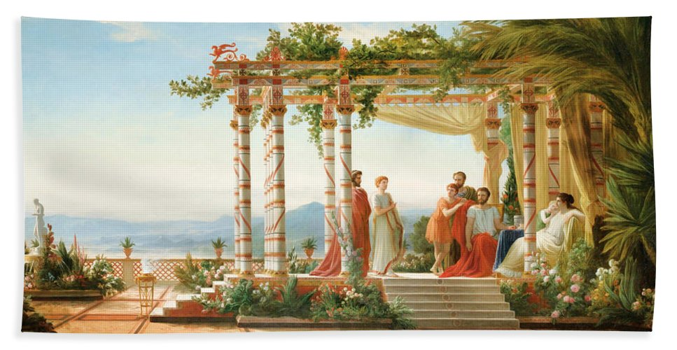 Jean Alaux Bath Sheet featuring the painting Under The Arbour by Jean Alaux
