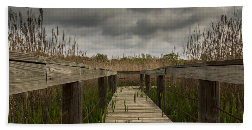 Nature Hand Towel featuring the photograph Under The Boardwalk by Jonathan Davison