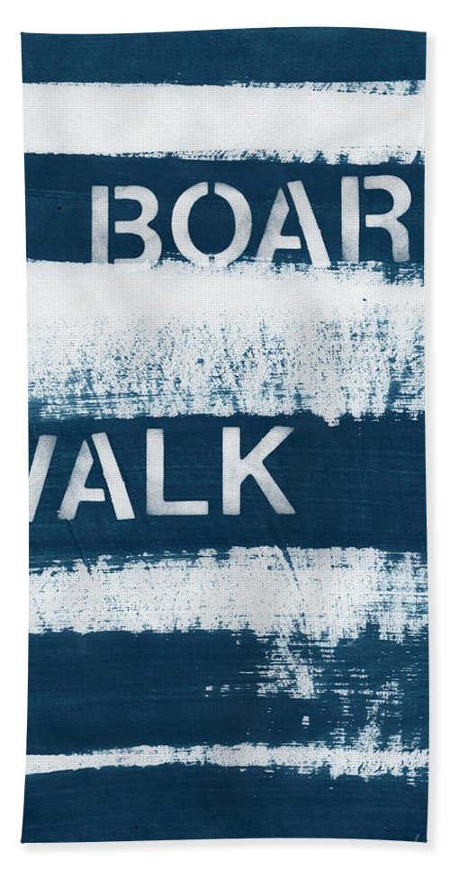 Beach Hand Towel featuring the painting Under The Boardwalk by Linda Woods