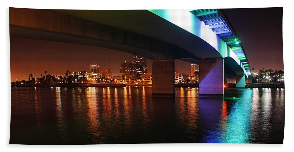 Long Beach Bath Sheet featuring the photograph Under The Bridge In Long Beach by Jenny Hudson