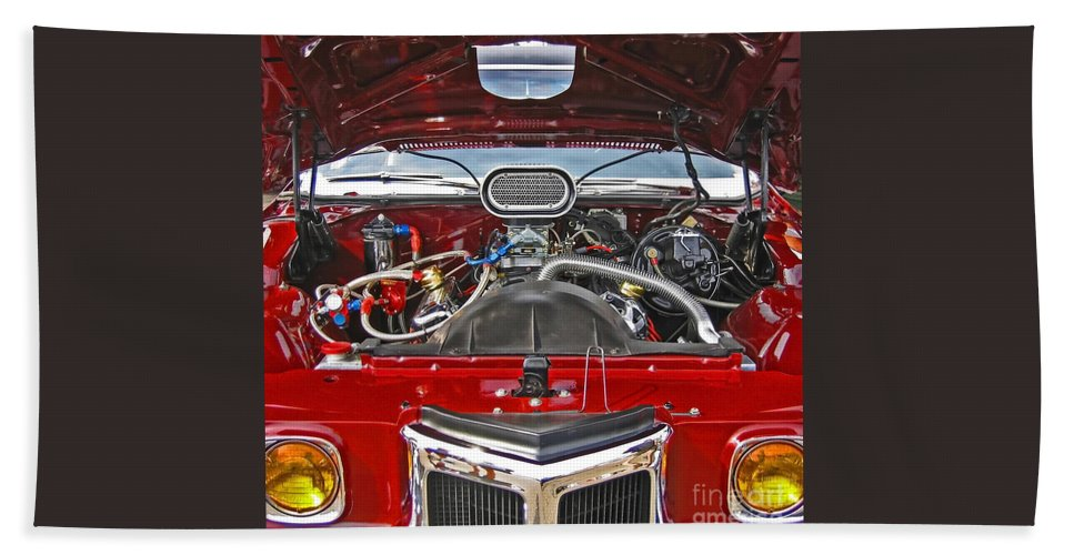 Car Hand Towel featuring the photograph Under The Hood by Ann Horn