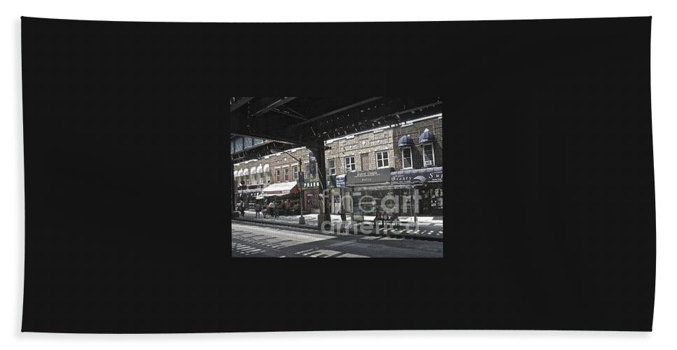 L Hand Towel featuring the photograph Under The L In Brooklyn by Christy Gendalia