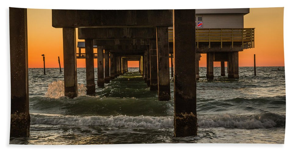 Clearwater Beach Hand Towel featuring the photograph Under The Pier by Jane Luxton