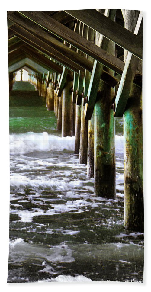Ocean Hand Towel featuring the photograph Under The Pier by Roger Wedegis