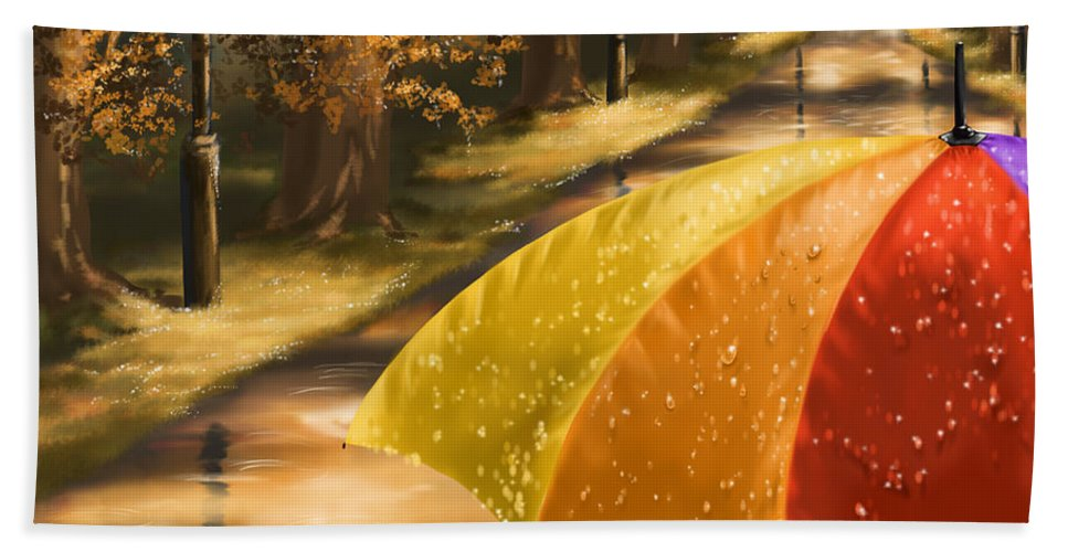 Rain Bath Sheet featuring the painting Under The Rain by Veronica Minozzi