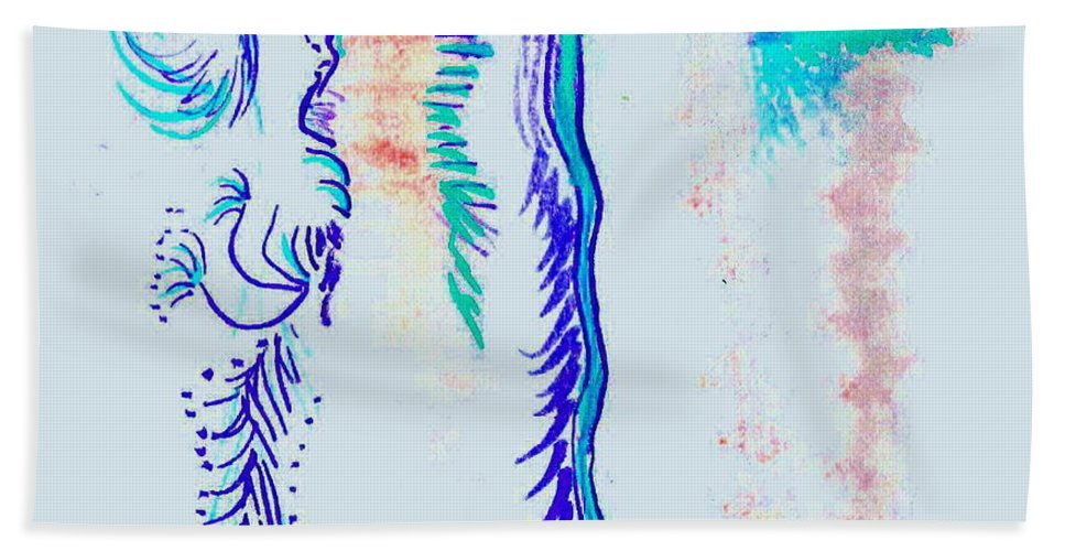 Abstract Hand Towel featuring the painting Under The Sea Again by Candee Lucas