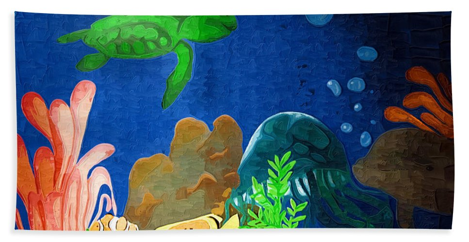 Seascape Hand Towel featuring the photograph Under The Sea Mural 2 by Kathy Clark