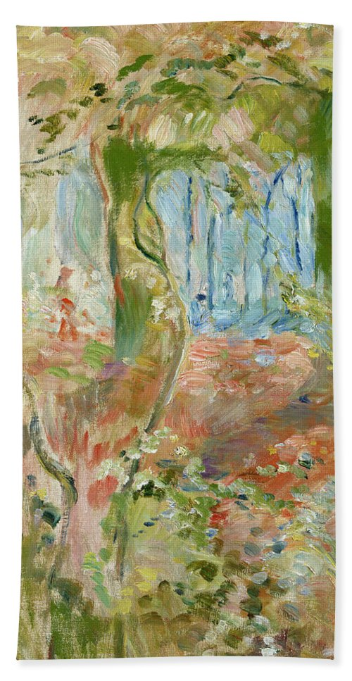 Sous-bois En Automne; Autumnal; Impressionist; Woodland; Wood Bath Sheet featuring the painting Undergrowth In Autumn by Berthe Morisot