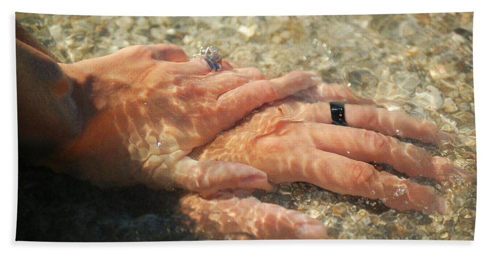 Hands Bath Sheet featuring the photograph Underwater Hands by Leticia Latocki