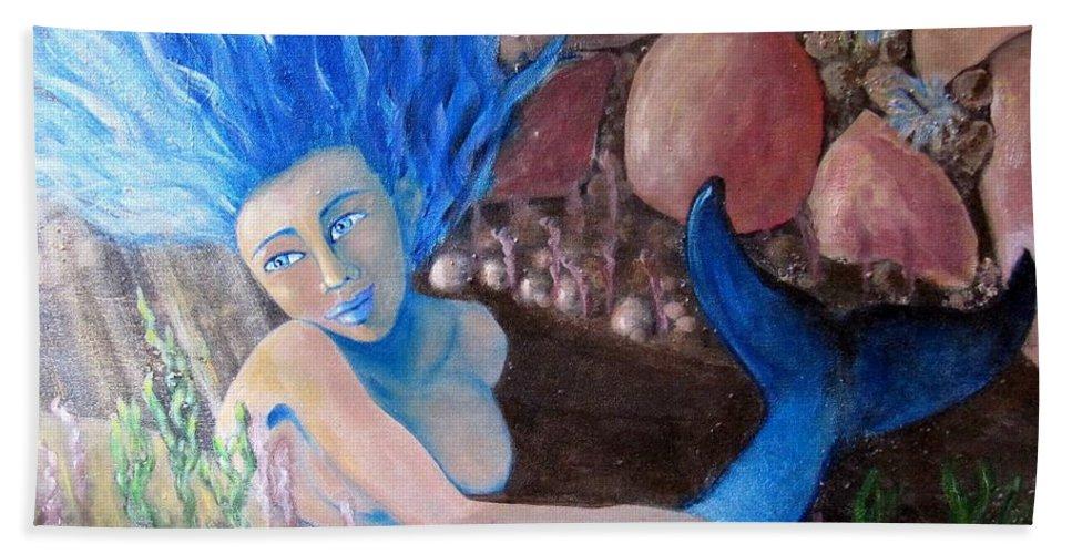 Mermaid Hand Towel featuring the painting Underwater Wonder by Laurie Morgan