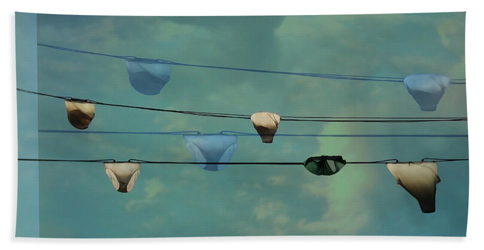 Panties On Washing Line Hand Towel featuring the photograph Underwear On A Washing Line by Jasna Buncic