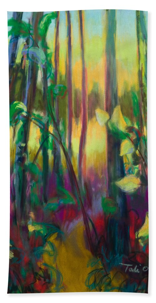 Tree Bath Sheet featuring the painting Unexpected Path - Through The Woods by Talya Johnson