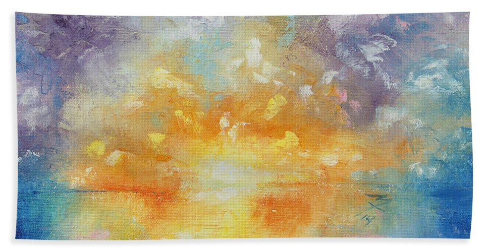 Sunrise Bath Sheet featuring the painting Unforeseen Kiss by Meaghan Troup