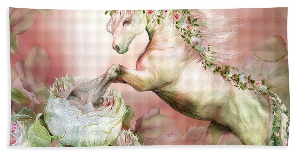 Unicorn Bath Sheet featuring the mixed media Unicorn And A Rose by Carol Cavalaris