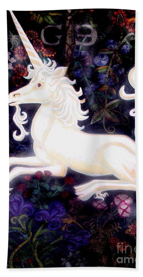 The Unicorn Tapestries Hand Towel featuring the painting Unicorn Floral by Genevieve Esson