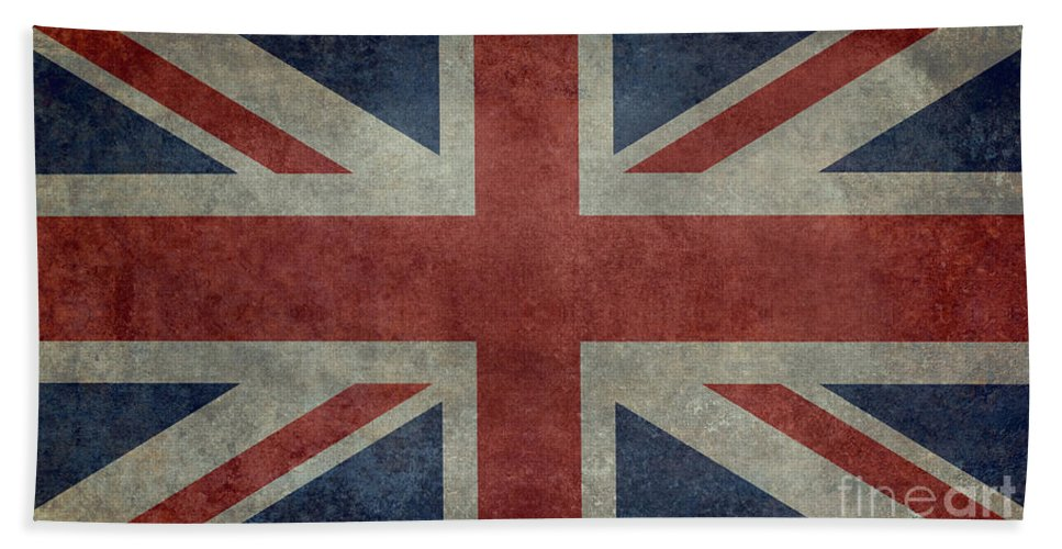 Red Bath Sheet featuring the digital art Union Jack 3 By 5 Version by Bruce Stanfield