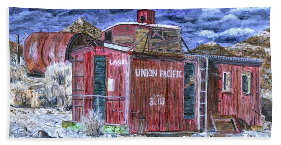 Train Bath Sheet featuring the painting Union Pacific Train Car Painting by Timothy Hacker