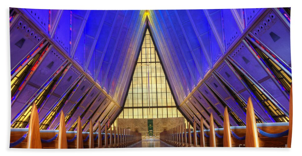 United States Air Force Academy Chapel Bath Sheet featuring the photograph United States Airforce Academy Chapel Interior by Bob Christopher