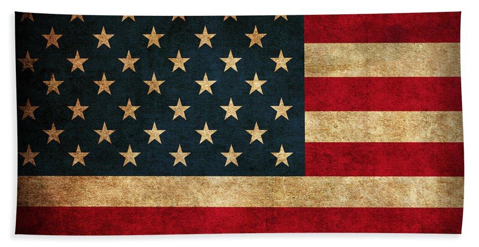 United States American Usa Flag Vintage Distressed Finish On Worn Canvas Bath Towel featuring the mixed media United States American USA Flag Vintage Distressed Finish on Worn Canvas by Design Turnpike