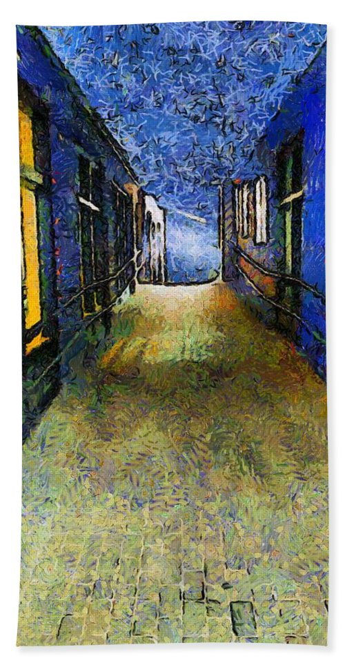 Alley Hand Towel featuring the painting Universe Alley by RC DeWinter