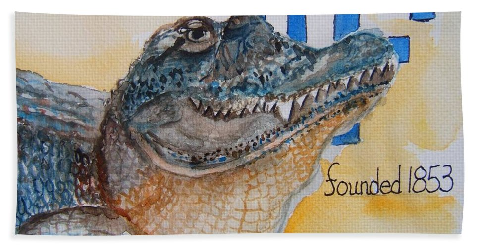 Florida Gator Hand Towel featuring the painting University Of Florida by Elaine Duras