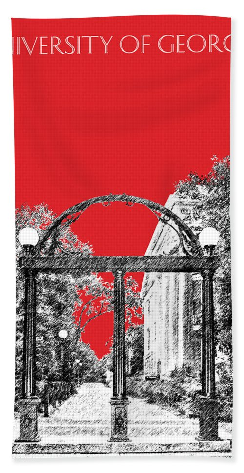 University Hand Towel featuring the digital art University Of Georgia - Georgia Arch - Red by DB Artist