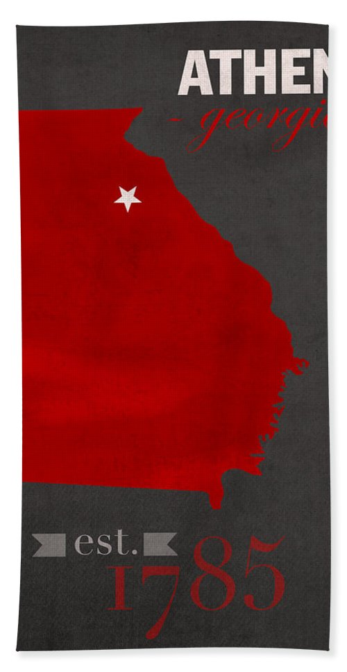 University Of Georgia Hand Towel featuring the mixed media University Of Georgia Bulldogs Athens College Town State Map Poster Series No 040 by Design Turnpike