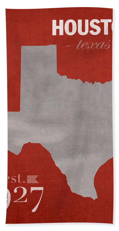 University Of Houston Hand Towel featuring the mixed media University Of Houston Cougars Texas College Town State Map Poster Series No 045 by Design Turnpike