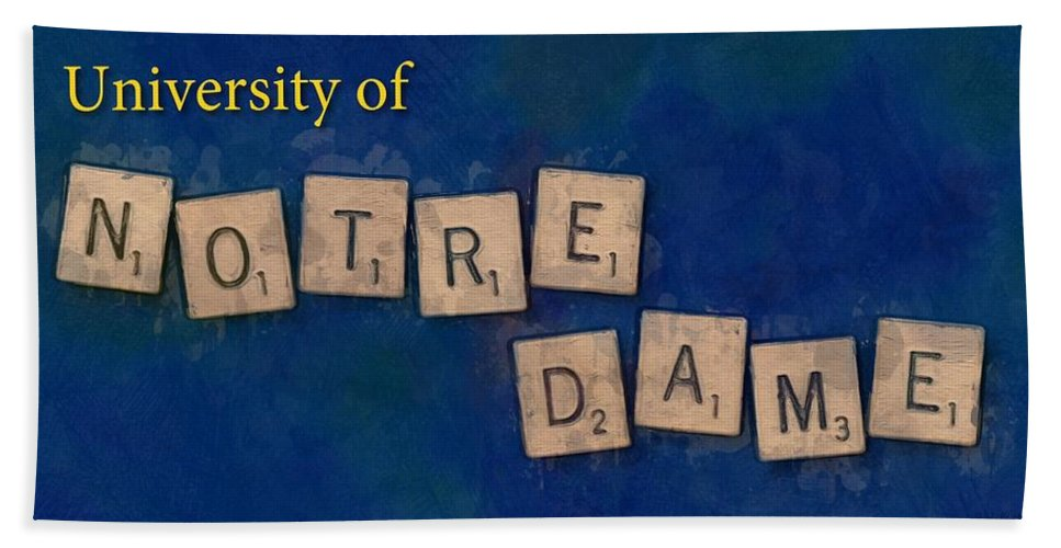 University Of Notre Dame Hand Towel featuring the painting University of Notre Dame by Sandy MacGowan