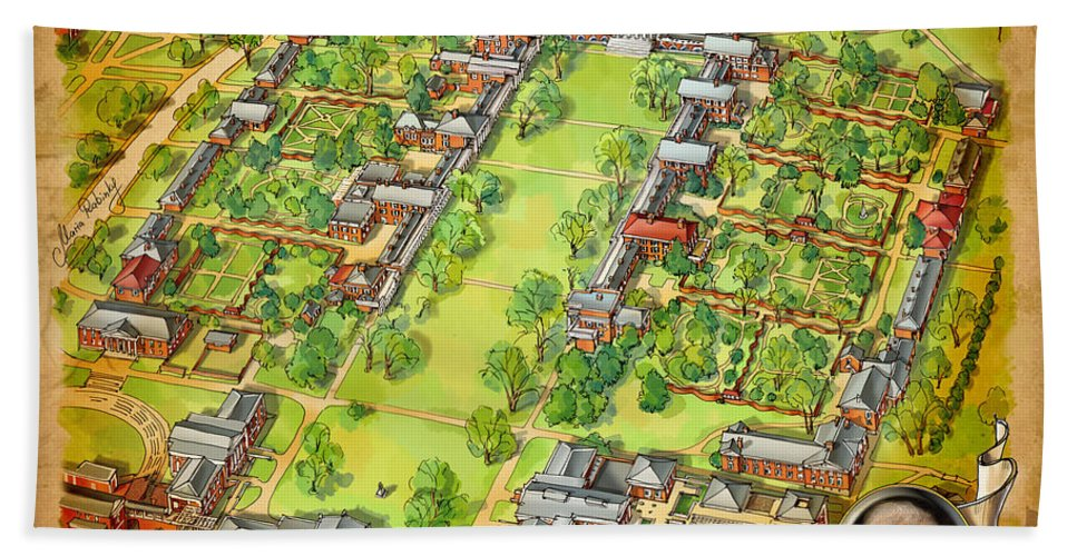 University Of Virginia Hand Towel featuring the painting University Of Virginia Academical Village With Scroll by Maria Rabinky