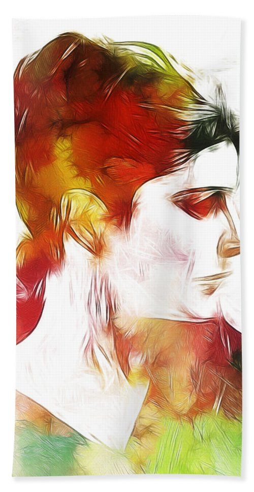 Lady Woman Face Portrait Expressionism Impressionism Face Color Colorful Painting Bath Sheet featuring the painting Unknown Lady by Steve K