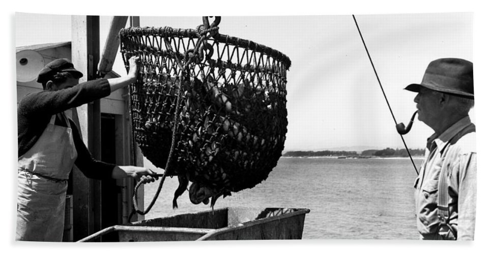 Unloading Hand Towel featuring the photograph Unloading Fish From Monterey's Wharf Two Circa 1950 by California Views Archives Mr Pat Hathaway Archives