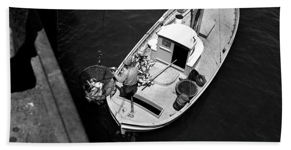 Unloading Hand Towel featuring the photograph Unloading Fish At Wharf Two Monterey Circa 1950 by California Views Archives Mr Pat Hathaway Archives
