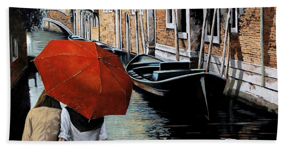 Canal Scene Bath Towel featuring the painting Uno Sguardo Al Canale by Guido Borelli