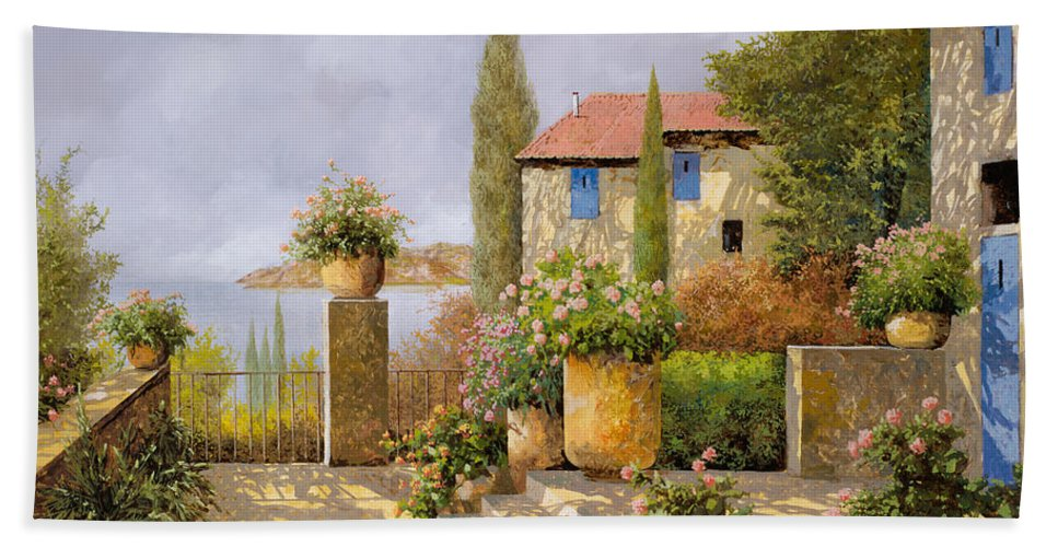 Terrace Hand Towel featuring the painting Uno Sguardo Sul Mare by Guido Borelli