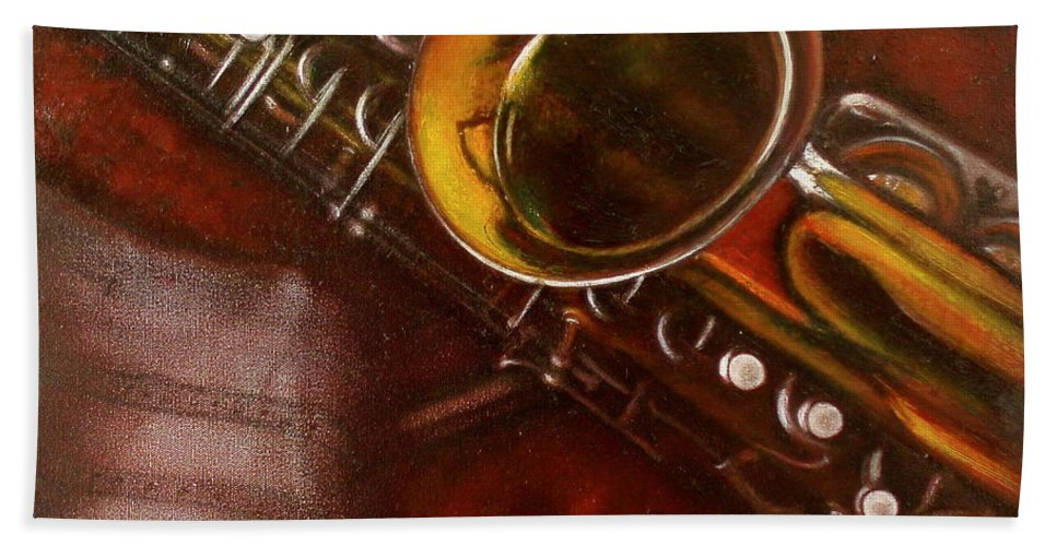 Still Life Hand Towel featuring the painting Unprotected Sax by Sean Connolly