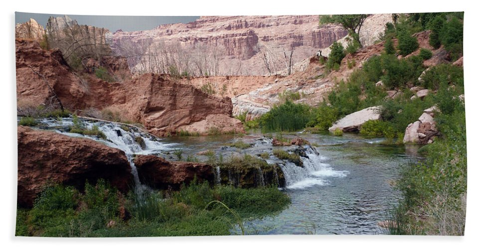 Navajo Hand Towel featuring the photograph Unspoiled Waterfall by Alan Socolik