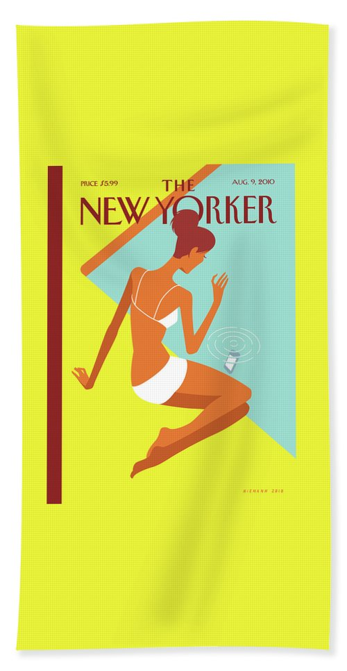 Pool Hand Towel featuring the painting New Yorker August 9th, 2010 by Christoph Niemann